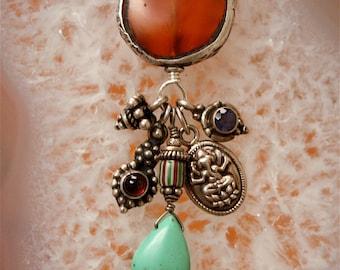 Ganesh Talisman, Ganesh Necklace, Talisman Necklace, Carnelian Necklace, Garnet Necklace, Amethyst Necklace, Charm Necklace, Amulets