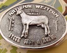 National Western Stock Show & Rodeo 1983 Belt Buckle - Cubic Zirconia - Sheep