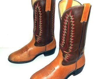 Cowboy Boots Mens 9 D Two Tone Brown Country Western Shoes Red Yellow Vintage