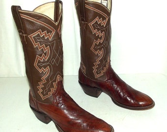 Exotic Brown Eel Leather Cowboy boots mens size  7 D / womens 8.5 Adams Brand