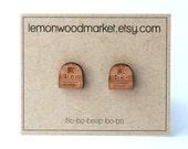 R2D2 Earrings - alder laser cut star wars wood earrings