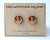 Rebel Earrings - alder laser cut star wars wood earrings