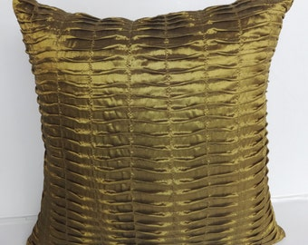 Bronze Gold pleated pillow cover 18x18 inch silk decorative throw pillow - 2 In Stock