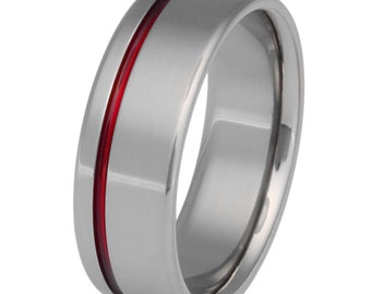 Thin Red Line Titanium Ring - Firefighter's Ring - Red Ring - r2