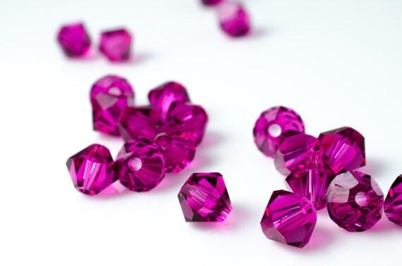 Fuchsia Bicone Crystal Beads