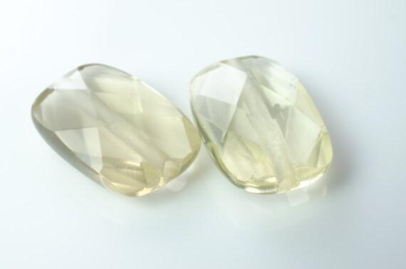 Lemon Quartz Faceted Rectangle Beads