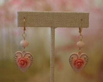 Shabby Chic Peach Heart Earrings