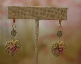 Shabby Chic Yellow and Pink Heart Earrings