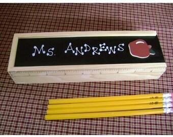 Apple Pencil Holder Box w/ Pencils - Personalized Teacher Gift