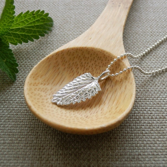 Catmint Leaf Jewelry - Pure Silver Real Leaf Pendant, Sterling Ball Chain Necklace, Herb Jewelry, Gift for Cat Lover