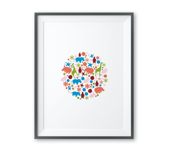 Animals Like to Party | A4 Print | Unframed | Wall Art | Toodles Noodles