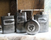 Batch No. 8 Assorted Flasks in Etched & Embossed Designs