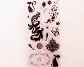 Acrylic clear stamp set dog paws cat bird butterfly heart rose flower flourish frame