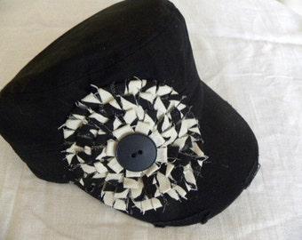 Black Military Cadet Hand Made Embellishment Cap Hat