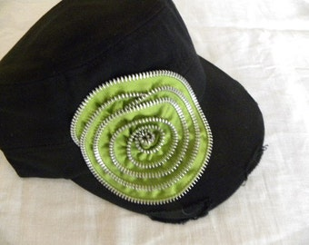 Black Military  Cadet Style Hat with  Metal Zipper embellishment  Hand Made