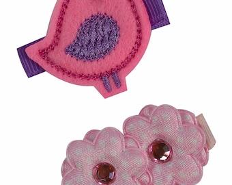 Girl's Hair Clip Set with Felt Embroidered Bird & Satin Flower