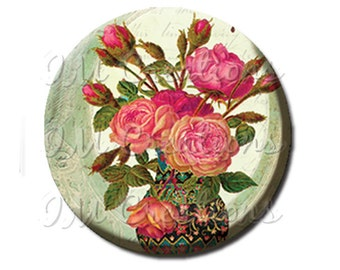 """Pocket Mirror, Magnet or Pinback Button - Wedding Favors, Party themes - 2.25""""- Splendid Roses MR196"""