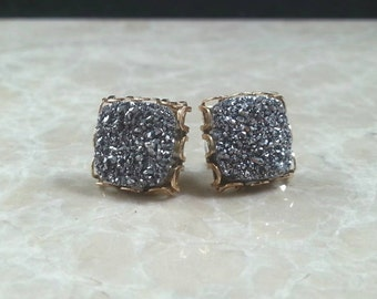 """1/2"""" 12mm Square Silver Druzy Drusy Post Stud Earrings in Gold Lace Setting withNickel Free Titanium Post"""