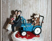 Cow Driving Tractor Wedding Cake Topper, Personalised, Custom