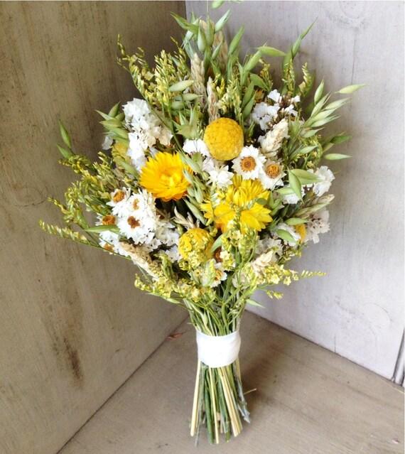 Easy Wedding Flowers: Simple Fall Bridal Bouquet Of Wheat Craspedia By