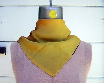 Ombre Silk Scarf ~ Hand Rolled ~ Golden Yellow and Deep Mocha ~ Square Scarf