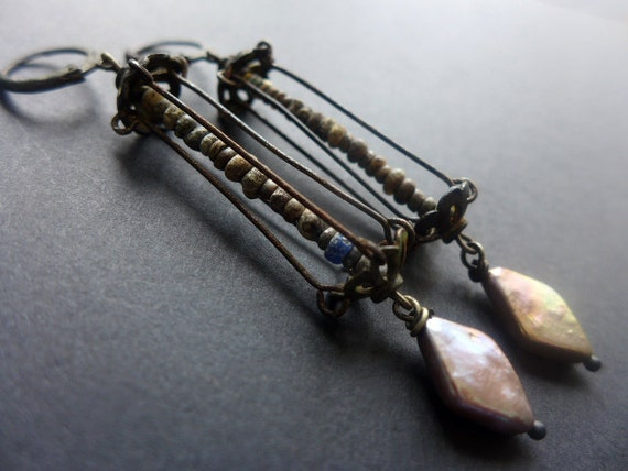 Djenné. Ancient beads in caged earrings with cultured pearls.