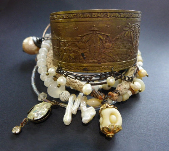 Beach Sand. Bangle stack. Rustic tribal gypsy bracelet set with cuff in white and beige.