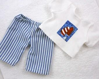 Boy doll shirt pants set, nautical white blue sailboat stripes, 15 inch Waldorf doll clothes, 18 inch girl doll, 15 inch bitty babies twin