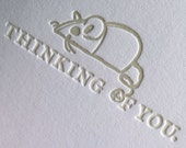 "Cat Condolence or Get Well Letterpress ""Thinking of You"" Card"