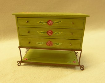 1:12 scale dollhouse miniature  chest with drawers and iron wrougt feet