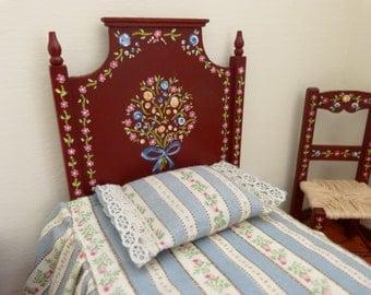 Miniature single bedroom set  4 pieces Portuguese folkart