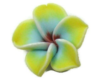 21mm Yellow Blue and Red Polymer Clay Plumeria Flower Beads set of 4 (P15)