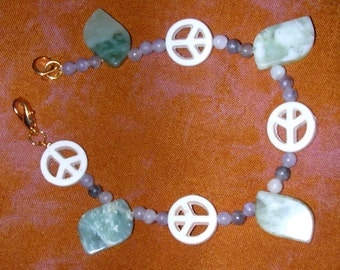Peace Symbols Bracelet with Green Stone Leaves and Beads Grayish to Purple