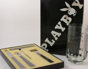 Vintage PlayBoy Bar Set and New York PlayBoy Club Mug Bar Tools Bottle Opener Corkscrew Knife and Can Opener