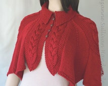 Fun and Flirty Deep Red Cape, Cable and Diamond Cape, Hand Knitted Woman's Deep Red Cape, Versatile Womans Knit Cape