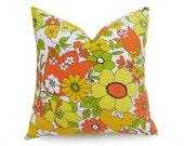 Spring Throw Pillows, Mod Floral Pillow Covers, Retro Pillows, Yellow Orange Green Pillows, Unique, Repurposed Vintage Bedding, 18x18