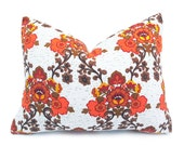 Retro Orange Pillows, 18x18 Country Throw Pillows, Repurposed 70s Fabric, Eco Chic Home Decor