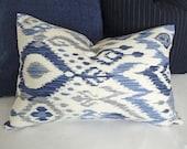 Blue Ikat Lumbar Pillows, 12x18, 12x20, 14x20, Blue White Grey Accent Pillow Covers, Cream White Coastal  Pillows, Beach House Decor