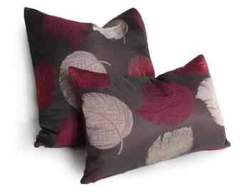 Brown Purple Pillow Covers, Contemporary Lumbar Pillow, Dark Brown Fuchsia Accent Pillows, Raspberry, Leaves Pillow, 12x18 Lumbar Cushion