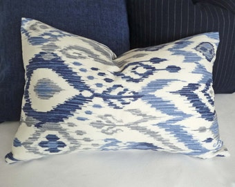 Blue Ikat Lumbar Pillows, 12x18, 12x20, 14x20, Blue White Grey Accent Pillow Covers, Cream White Coastal  Pillows, Beach House Decor