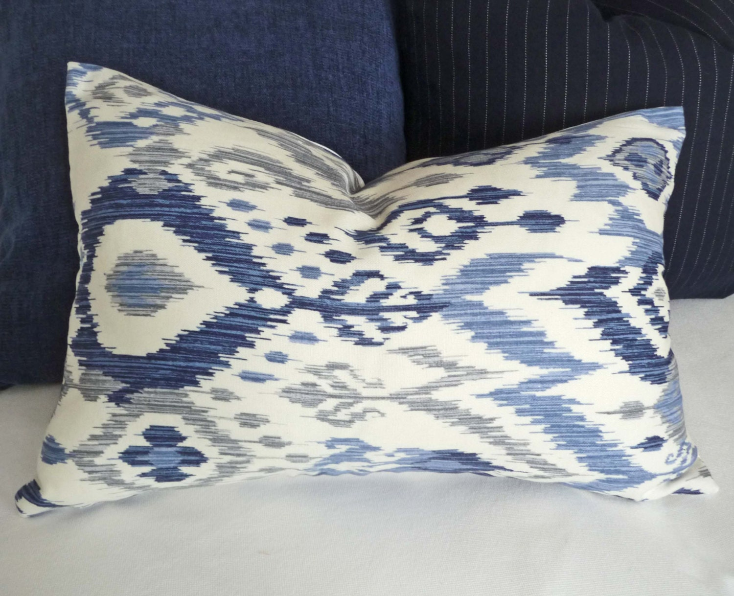 Blue Ikat Lumbar Pillows Blue Decorative Pillows Blue White