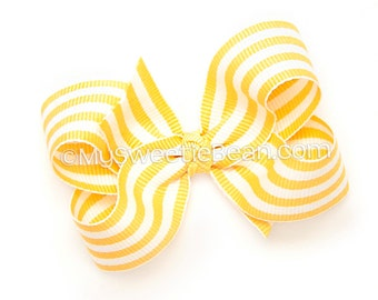 Yellow and White Striped Hair Bow, 3 inch Boutique Bow for Girls, Taffy Stripes Lemon Yellow Bow, Bright Sunshine Yellow Preppy Baby Toddler