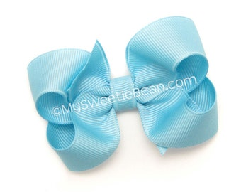 """Blue Bow, 3 inch Hair Bow, No Slip Hair Bow for Girls, Baby, Toddler, 3"""" Grosgrain Boutique Bow, True Blue Hair Bow for Toddlers"""