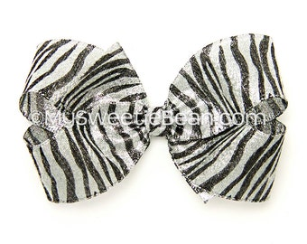 "Metallic Zebra Hair Bow, 5 inch Hair Bow, Zebra Boutique Bow, Silver, Black, 5"" Metallic Bow for Women, Girls, Dressy, Special Occasion Bow"