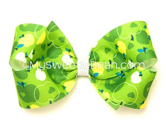 Green Apple Hair Bow, 5 inch Hair Bow, Printed Boutique Bow, Apple Bow for Girls, Teens, Women, Emerald Green, White, Baby Toddler Girls