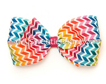 Rainbow Chevron Hair Bow, 5 inch Boutique Bow for Girls, Geometric Print Bow, Shadow Chevron, 3D Chevron Bow for Women, Toddler Girls