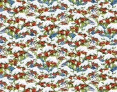 Quiet Bunny and Noisy Puppy Blue Berries and Snow cotton fabric by Lisa McCune for Wilmington Prints