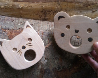 bear cub and kitty: eco-friendly teether set/ baby shower gift