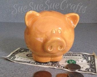 Cute small honey toast baby pig bank. Ready to Ship #052615
