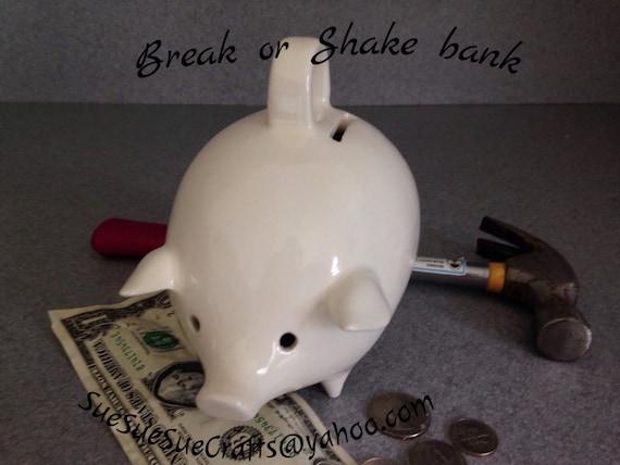 Vintage White Ceramic Piggy Bank No stopper  Break or shake with eye holes #WpB/Swe